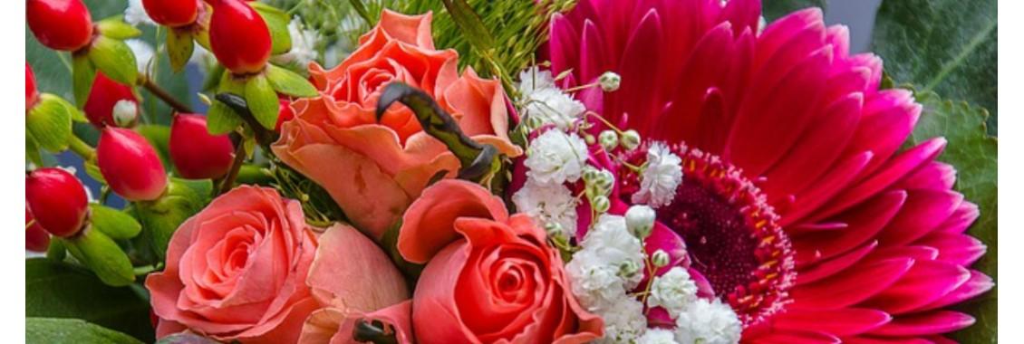 roses et gerbera